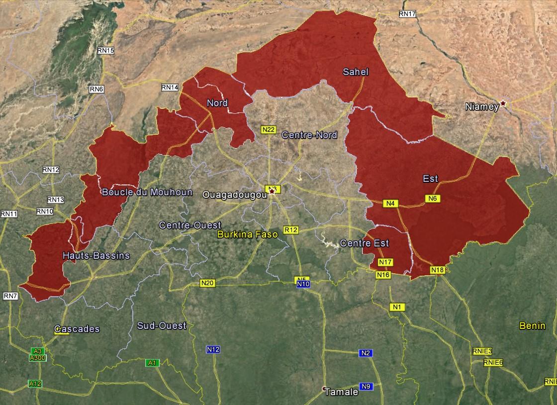 Burkina Faso travel advisory map feb 2019 | U.S. Embassy in Burkina Faso