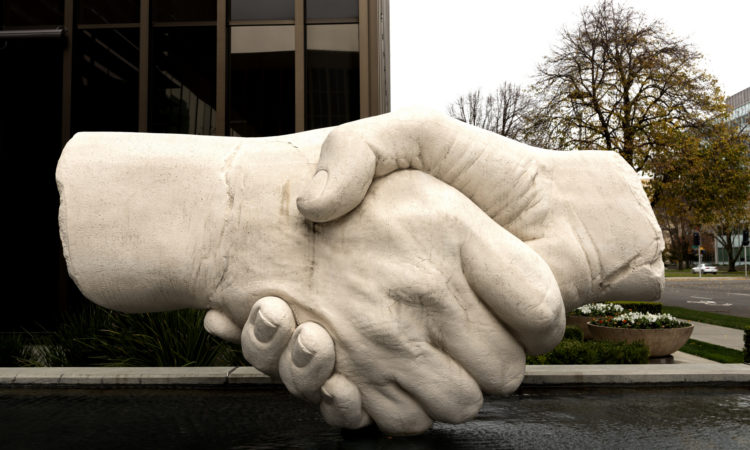 "Shake on it Original caption: ""This sculpture of shaking hands near the Capitol Mall is one of Sacramento, California's, most popular pieces of outdoor art."" Photo by Carol M. Highsmith / Library of Congress. www.loc.gov/item/2013633917/."