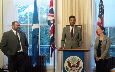 Junaid Ashruf speaking at the CG Edinburgh Reception to celebrate faith and cultural diversity in Scotland.