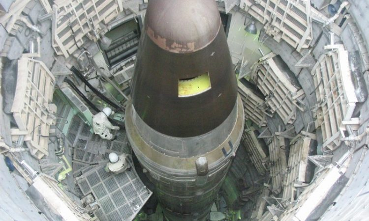 Top-down view of an intercontinental ballistic missile or ICBM when loaded into a silo at the Titan Missile Museum