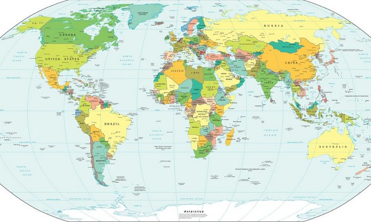 World map, political view
