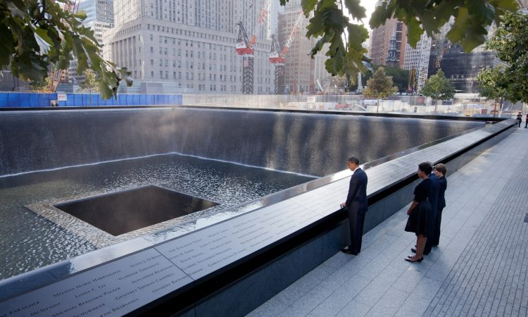 President Barack Obama and First Lady Michelle Obama, along with former President George W. Bush and former First Lady Laura Bush at the National September 11 Memorial in New York
