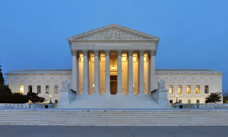 Panorama of the United States Supreme Court Building at Dusk