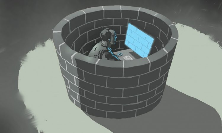 Illustration of man surrounded by brick wall looking at computer screen showing brick wall (State Dept./Doug Thompson)