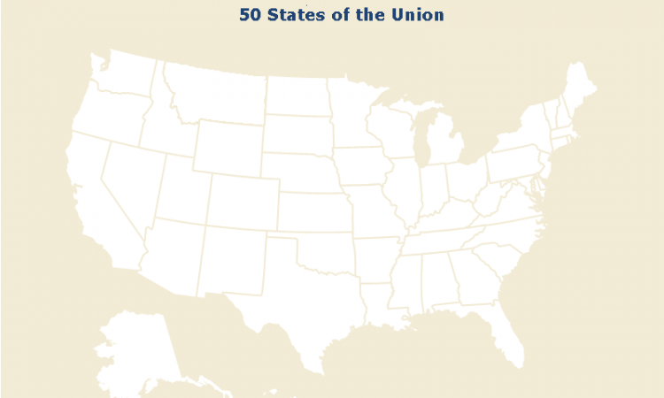 Map of the 50 states of the US