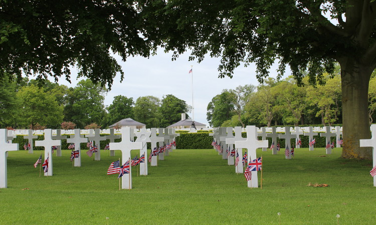 Dressed headstones at the Cambridge American cemetery