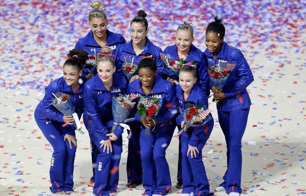 U.S. Olympic women's gymnastics team members, clockwise from top left: Ashton Locklear, Aly Raisman, Madison Kocian, Gabby Douglas, Ragan Smith, Simone Biles, MyKayla Skinner and Laurie Hernandez (AP Images)