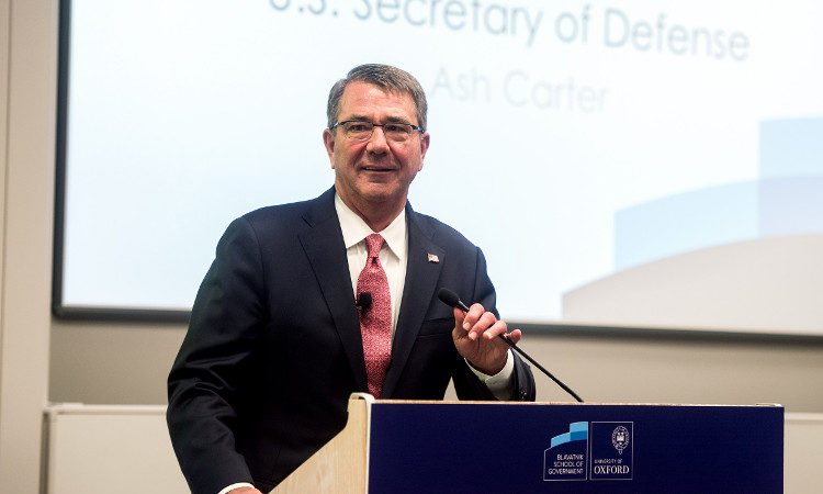 Defense Secretary Ash Carter during remarks at trhe Blavatnik School of Government, Oxford, 06 September 2016