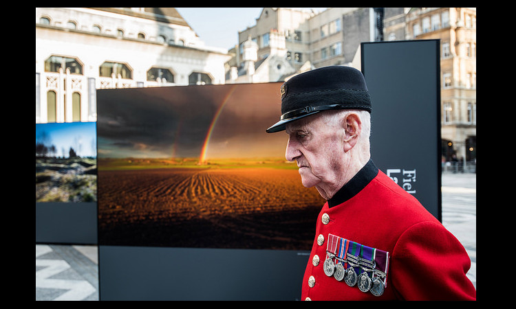 Remembering the 100th Anniversary of the U.S.' Entry into WWI and photo exhibition at the London Guildhall, 6 April 2017.