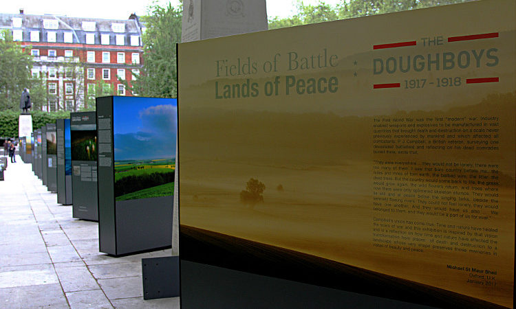 Fields of Battle, Lands of Peace WW1 photo exhibition on display in Grosvenor Square. April 2017