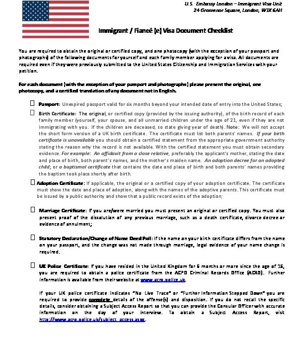 Iv And K Visa Interview Checklist 2017 Version U S Embassy Consulates In The United Kingdom