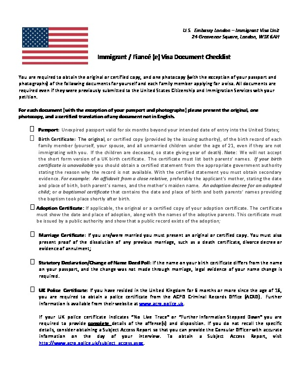IV and K visa interview checklist (2017 version) | U S  Embassy
