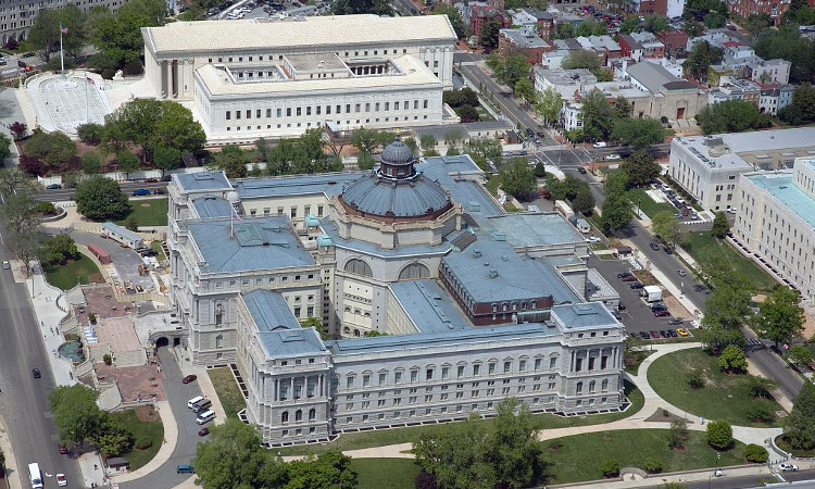 Aerial view of the Library of Congress building