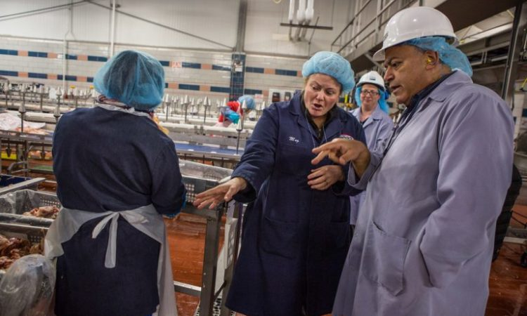 People inspecting a meat processing plant