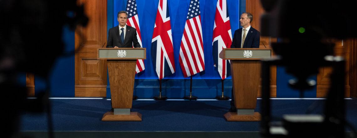Secretary Blinken and UK Foreign Secretary  Raab at a Joint Press Availability