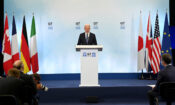 United States of America President Joe Biden gives a press conference at Newquay airport, Cornwall during the G7 Summit on 13th June 2021 (Karwai Tang/G7 Cornwall 2021)