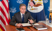 In this file photo,  Secretary Blinken Delivers Closing Remarks at the Virtual COVID-19 Summit (State Dept.)