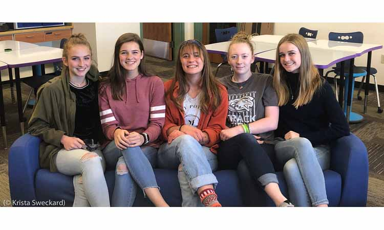 Girls Who Code team that created the Meals on Wheels app: (left to right) Seren Chapin, Teaghen Sweckard, Georgia Wages, Shelbi Kovar, Addysen Sweckard (© Krista Sweckard)