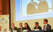 Ambassador Daniel B. Smith (left) led the panel discussion between historians Seth Rotramel, Lindsay Krasnoff, Charles Hawley and Thomas Faith at the State Department. (State Dept.)