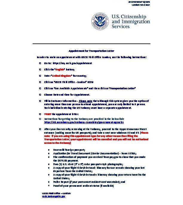 uscis transportation letter instructions
