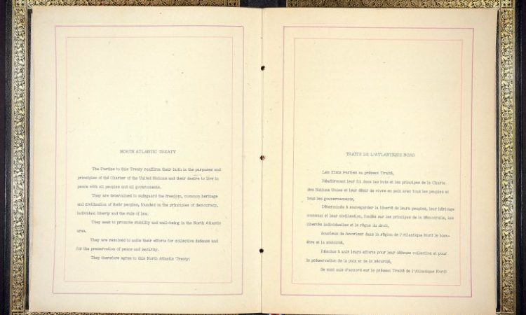 Pages from the North Atlantic Treaty (National Archives)