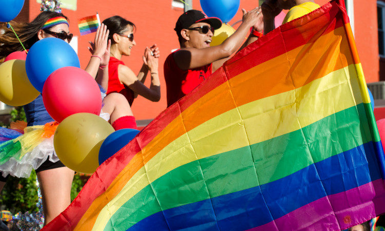 Proud flag at the Capital Pride Parade, Washington DC.