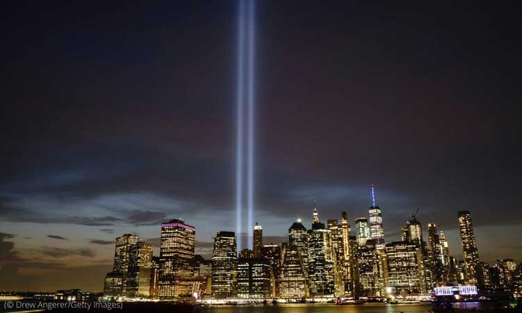 """The """"Tribute in Light"""" on the 18th anniversary of the 9/11 terrorist attacks, September 11, 2019, in New York City (© Drew Angerer/Getty Images)"""