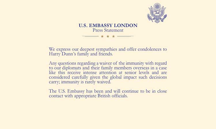 U.S. Embassy London, Immunity,