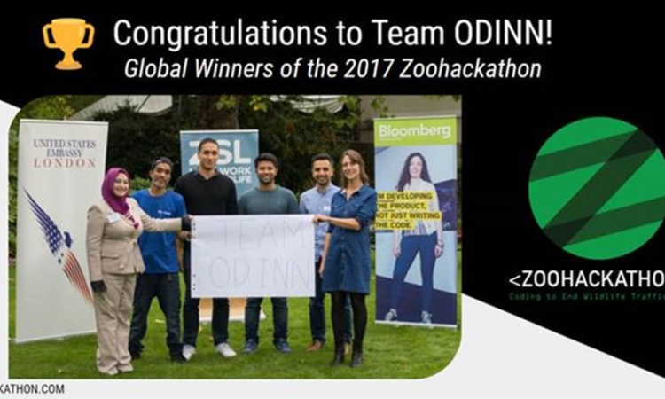 Team ODINN (center), Mahvash Siddiqui (U.S. Embassy London Science/Tech officer—left), Sophie Maxwell (Organizer, London Zoo, ZSL)