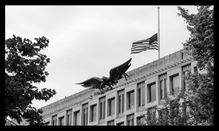 Flag at half-staff at US Embassy London
