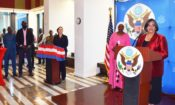 DSC_6682.JPG – Ambassador Pasi addresses Independence Day reception guests in the Embassy Atrium