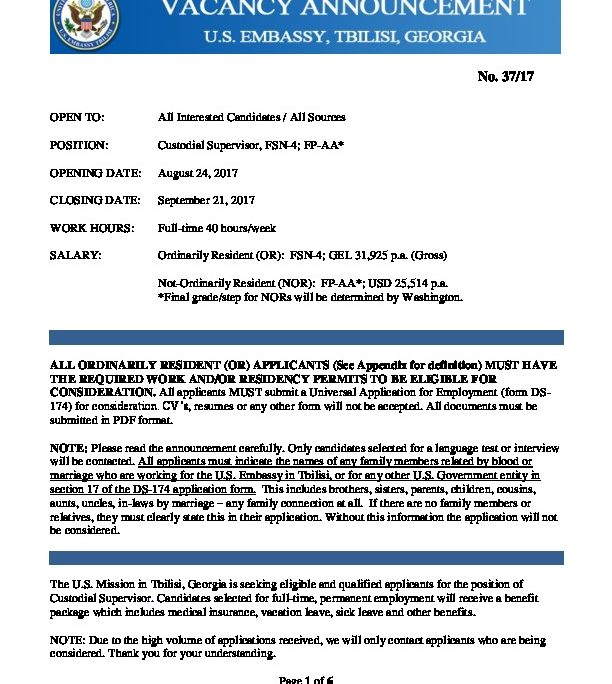Custodial Supervisor VA 37-17 | U S  Embassy in Georgia