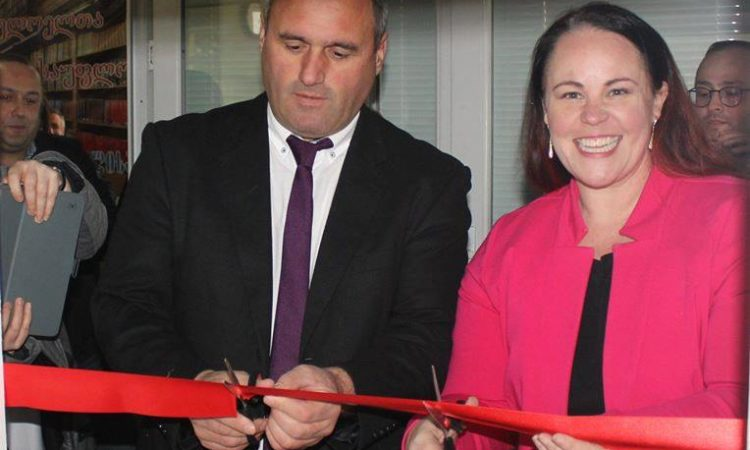 R-L PAO Schweitzer and Khulo Mayor Beridze cut the ribbon. State Department
