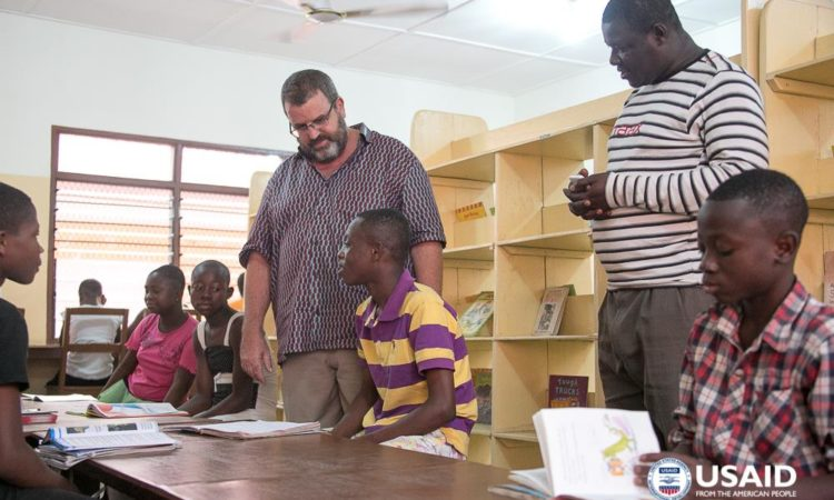 USAID/Ghana Mission Director Andy Karas meets with children from the Madamfo Ghana Foundation Shelter in Ho.