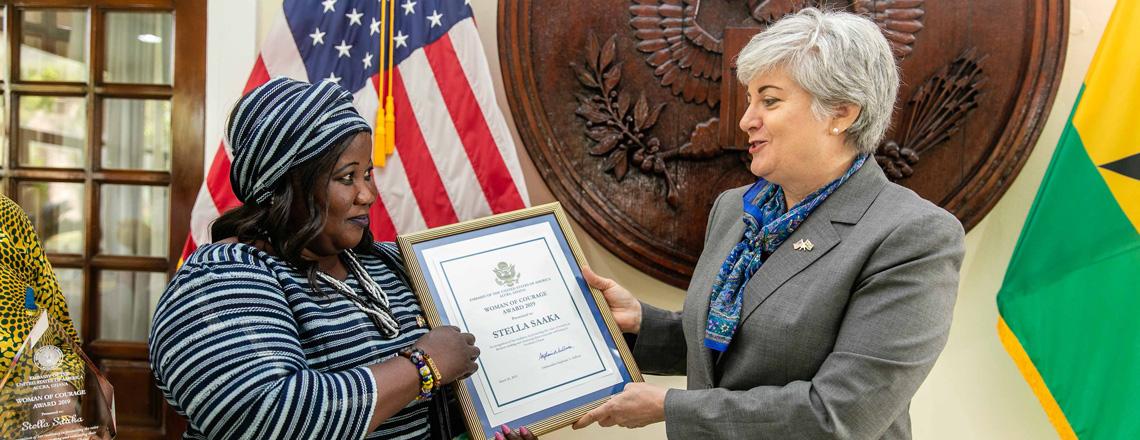 "Ambassador Sullivan Honors Stella Saaka with ""Ghana Woman of Courage"" Award"