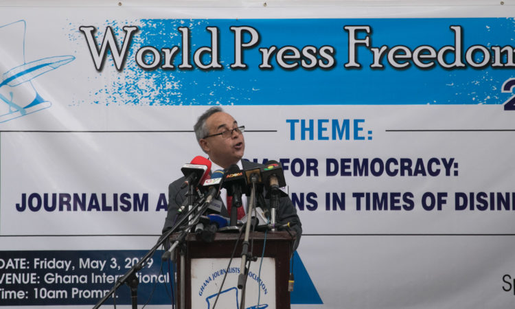 Counselor for Public Affairs Roberto Quiroz II delivering remarks at World Press Freedom Day 2019.
