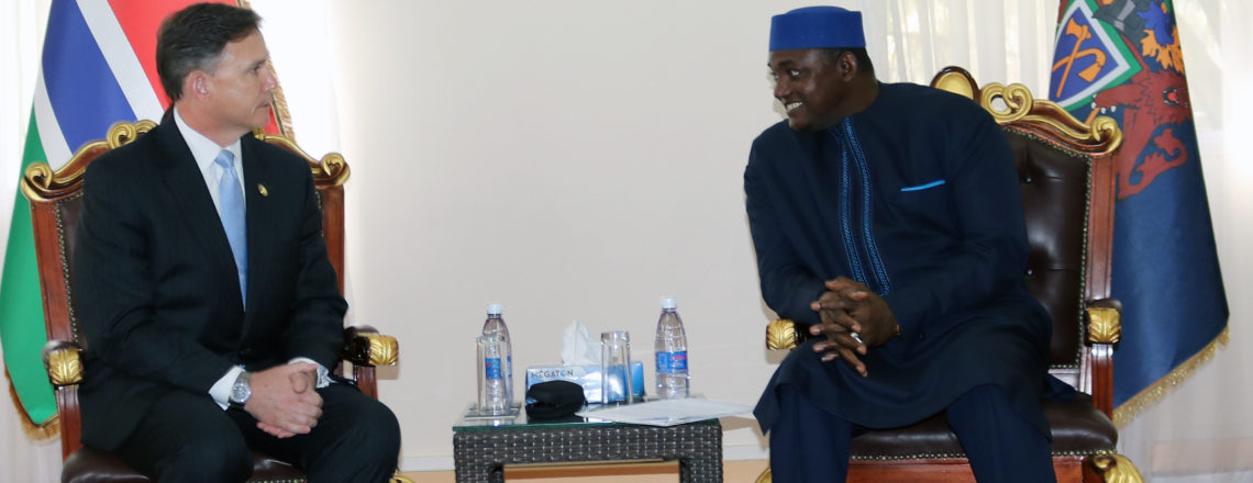Ambassador Paschall Holds Talks With President Barrow During State House Credentialing