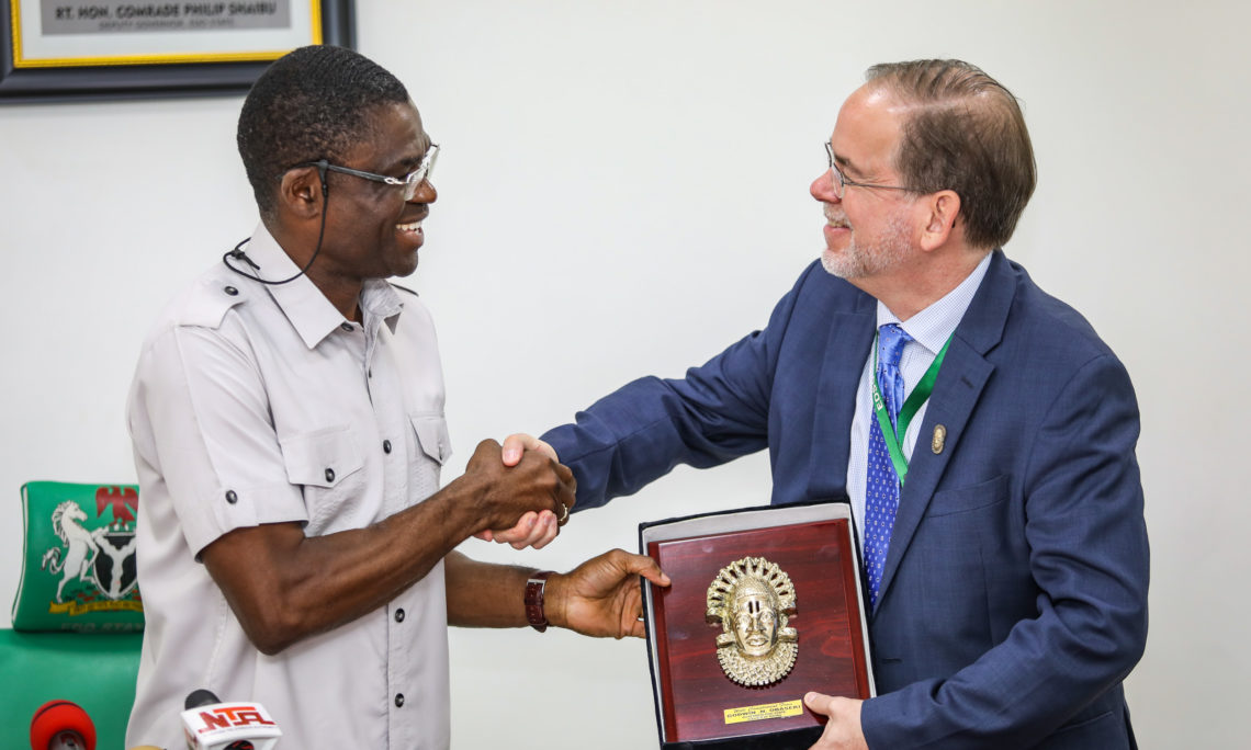 U.S. Chargé d' Affaires David Young (right), with Edo State Deputy Governor Philip Shuaibu, during his visit to the Government House in Benin on Tuesday. Photo: U.S. Embassy.