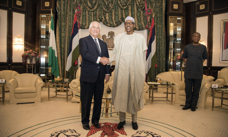 U.S. Secretary of State Rex Tillerson with Nigerian President Muhammadu Buhari at Aso Rock Presidential Villa, Abuja - March 12, 2018. Photo: U.S. Embassy/Ola Aworinde