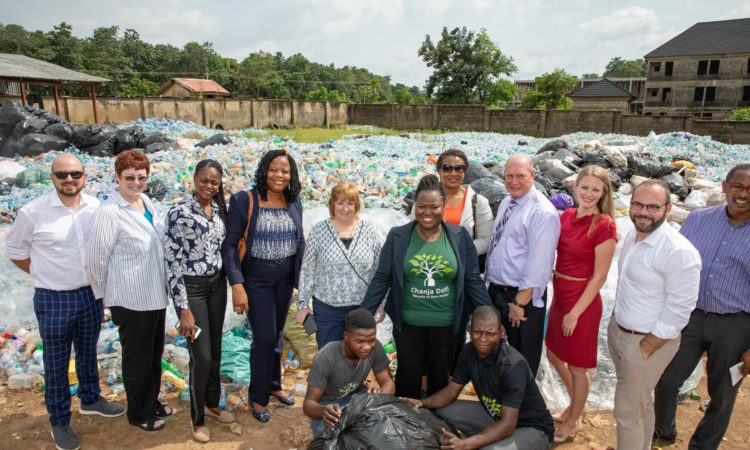U.S. Embassy Chargé d'Affaires Kathleen FitzGibbon, and members of the Mission's volunteer-led Green Stripe Initiative at local recycling facilities in Abuja. Photo Credit: U.S. Embassy Abuja / Olaoluwa Aworinde