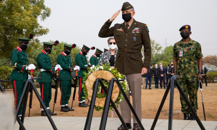 U.S. Africa Command Commander, Gen. Townsend participating in a wreath-laying ceremony at the Nigeria Military National Cemetery to honor those who have given their lives in the service of their nation.