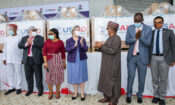 PHOTO CAPTION: Participants at the U.S. government's handover of 200 lifesaving ventilators to the Government of Nigeria on August 11, 2020 at the Abuja Premier Medical Warehouse included (from second left) USAID Mission Director Stephen M. Haykin, Nigeria Centers for Disease Control Director of Laboratory Services Nwando Mba, U.S. Ambassador Mary Beth Leonard, Federal Minister of Health Dr. Osagie Ehanaire, Federal Health Ministry Director of Food & Drugs, Mashood Lawal, and Nigeria Director of the U.S. Centers for Disease Control Dr. Mahesh Swaminathan.