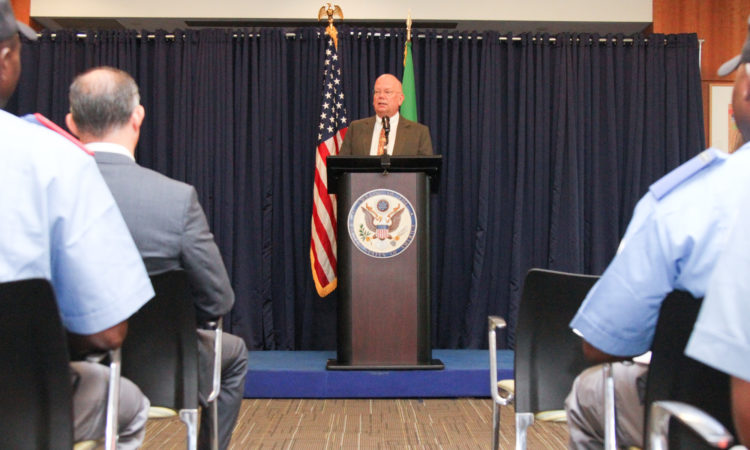 Ambassador James Entwistle speaking at the Embassy in Abuja