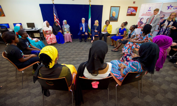Secretary Kerry, U.S. Ambassador-at-Large for Global Women's Issues Catherine Russell and Assistant Secretary Thomas-Greenfield Meet With a Group of Young Women who Have Been Empowered, or are Encourgaging Others to be Empowered Through Education in Abuja