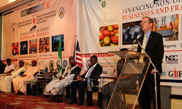 Charge d'Affairs, David Young, delivers remarks at the NACC SME Conference 2016. Photo Credit - US Embassy/Ola Aworinde