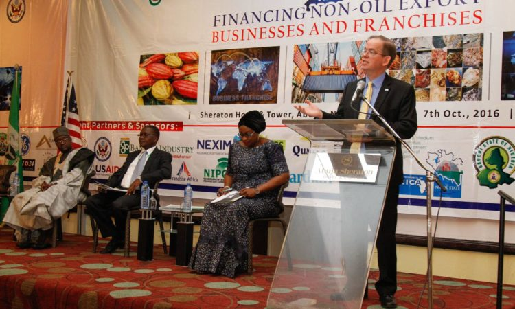 Charge d' Affaires David Young speaking at the NACC Africa Business Forum in Abuja