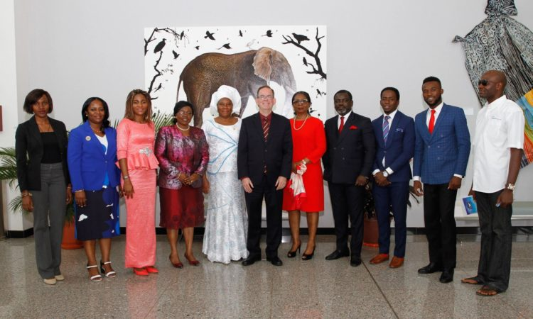 Charge d' Affaires David Young with speakers at the Day of the Girl Child event in Abuja