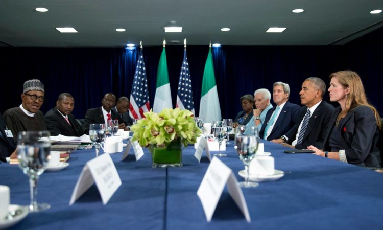 President Barack Obama in a bilateral meeting with Nigerian President Mohammadu Buhari at UNGA