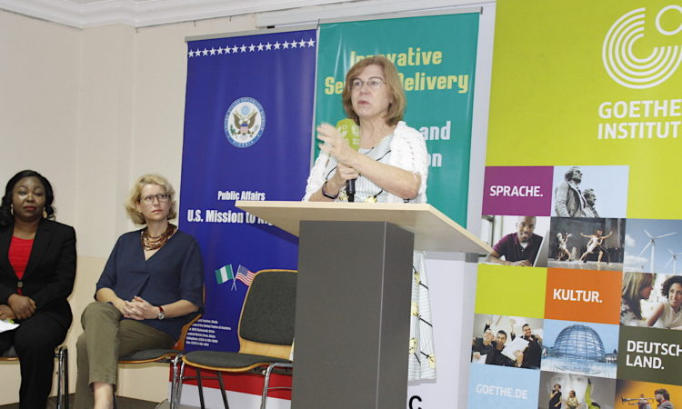 Darcy Zotter, Public Affairs Officer, U.S. Consulate General. Lagos delivering her remarks at the opening of the 2 Day Workshop for young Library and Information Professionals. With her were Dr. Victoria Okojie, University of Abuja (left) and Friederike Möschel, Director, Goethe-Institut, Nigeria (middle).