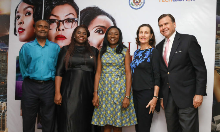 Ambassador W. Stuart Symington and his wife, Susan in a pose with two TechWomen fellows, Carolyn Seaman and Damilola Anwo-Ade and CPAO Aruna Amirthanayagam